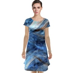 Blue Colorful Abstract Design  Cap Sleeve Nightdress