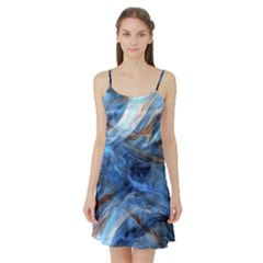 Blue Colorful Abstract Design  Satin Night Slip