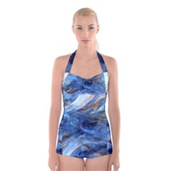 Blue Colorful Abstract Design  Boyleg Halter Swimsuit