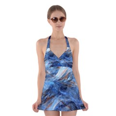 Blue Colorful Abstract Design  Halter Swimsuit Dress