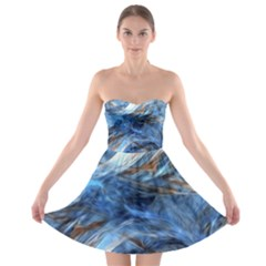 Blue Colorful Abstract Design  Strapless Bra Top Dress