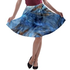 Blue Colorful Abstract Design  A Line Skater Skirt
