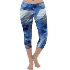 Blue Colorful Abstract Design  Capri Yoga Leggings