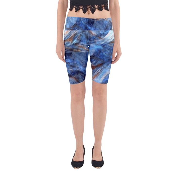 Blue Colorful Abstract Design  Yoga Cropped Leggings