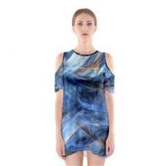Blue Colorful Abstract Design  Cutout Shoulder Dress
