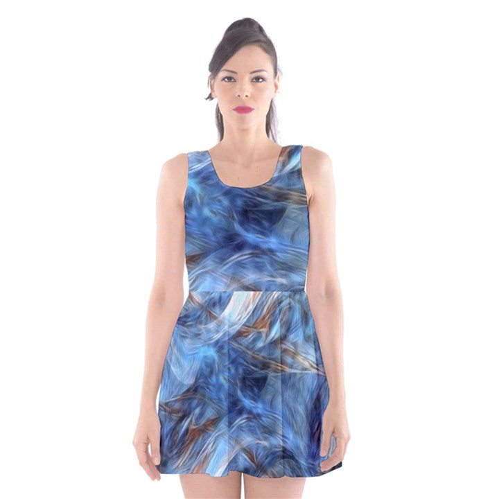Blue Colorful Abstract Design  Scoop Neck Skater Dress