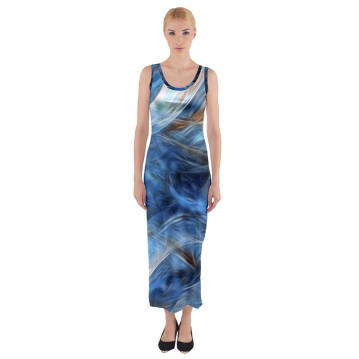 Blue Colorful Abstract Design  Fitted Maxi Dress
