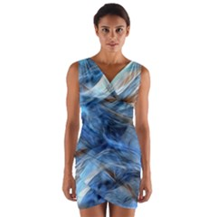 Blue Colorful Abstract Design  Wrap Front Bodycon Dress