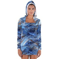 Blue Colorful Abstract Design  Women s Long Sleeve Hooded T Shirt
