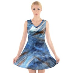 Blue Colorful Abstract Design  V Neck Sleeveless Skater Dress