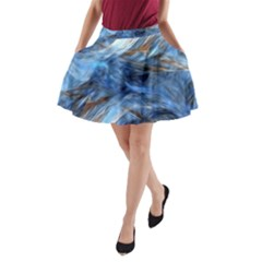 Blue Colorful Abstract Design  A Line Pocket Skirt
