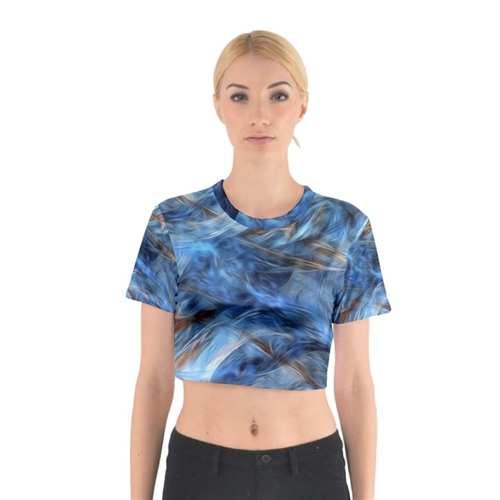 Blue Colorful Abstract Design  Cotton Crop Top