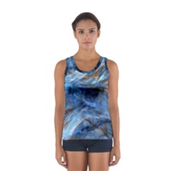 Blue Colorful Abstract Design  Women s Sport Tank Top