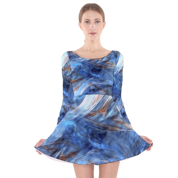 Blue Colorful Abstract Design  Long Sleeve Velvet Skater Dress
