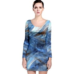 Blue Colorful Abstract Design  Long Sleeve Velvet Bodycon Dress