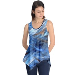 Blue Colorful Abstract Design  Sleeveless Tunic