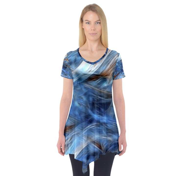 Blue Colorful Abstract Design  Short Sleeve Tunic