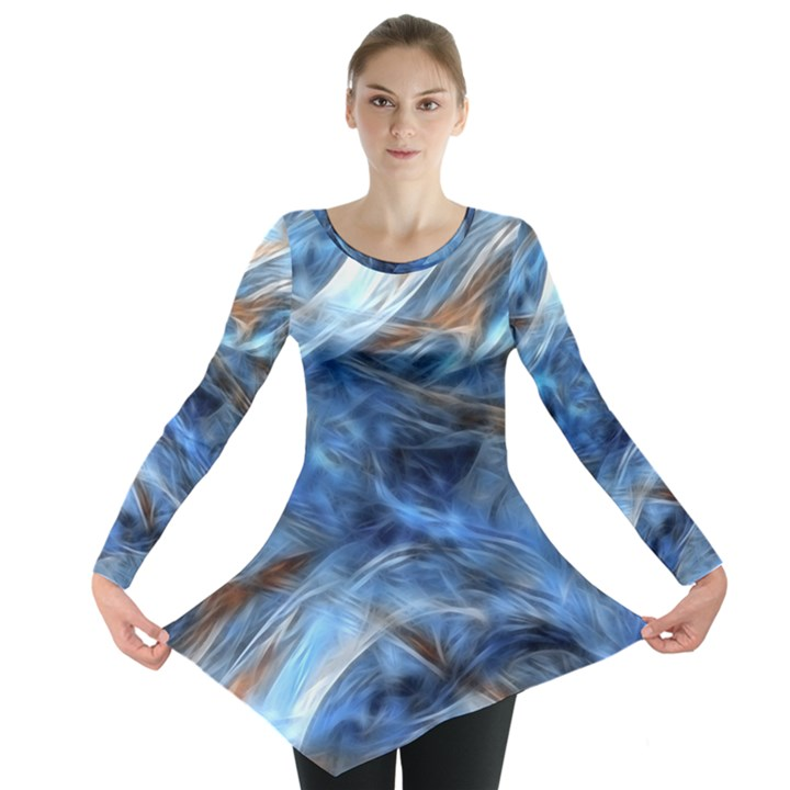 Blue Colorful Abstract Design  Long Sleeve Tunic