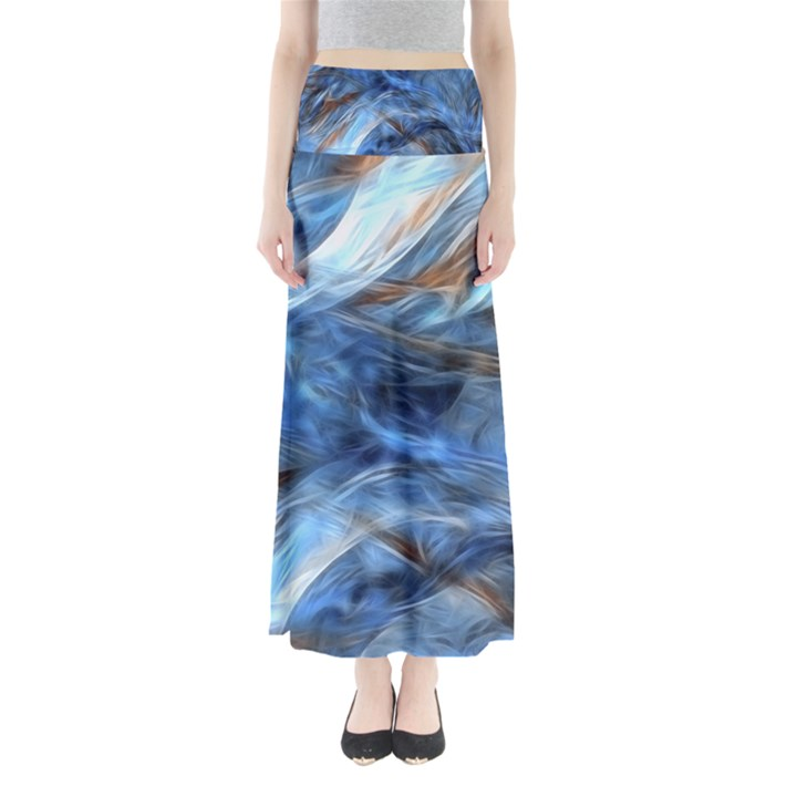 Blue Colorful Abstract Design  Maxi Skirts