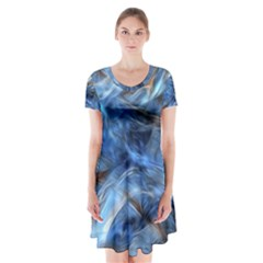 Blue Colorful Abstract Design  Short Sleeve V Neck Flare Dress