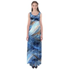 Blue Colorful Abstract Design  Empire Waist Maxi Dress
