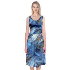 Blue Colorful Abstract Design  Midi Sleeveless Dress