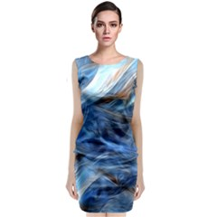 Blue Colorful Abstract Design  Classic Sleeveless Midi Dress