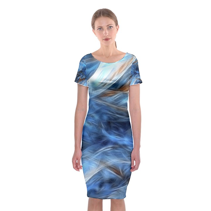 Blue Colorful Abstract Design  Classic Short Sleeve Midi Dress