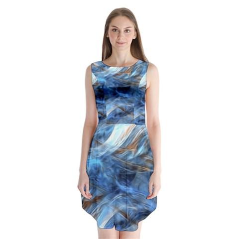 Blue Colorful Abstract Design  Sleeveless Chiffon Dress