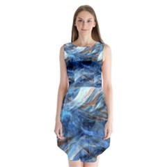 Blue Colorful Abstract Design  Sleeveless Chiffon Dress