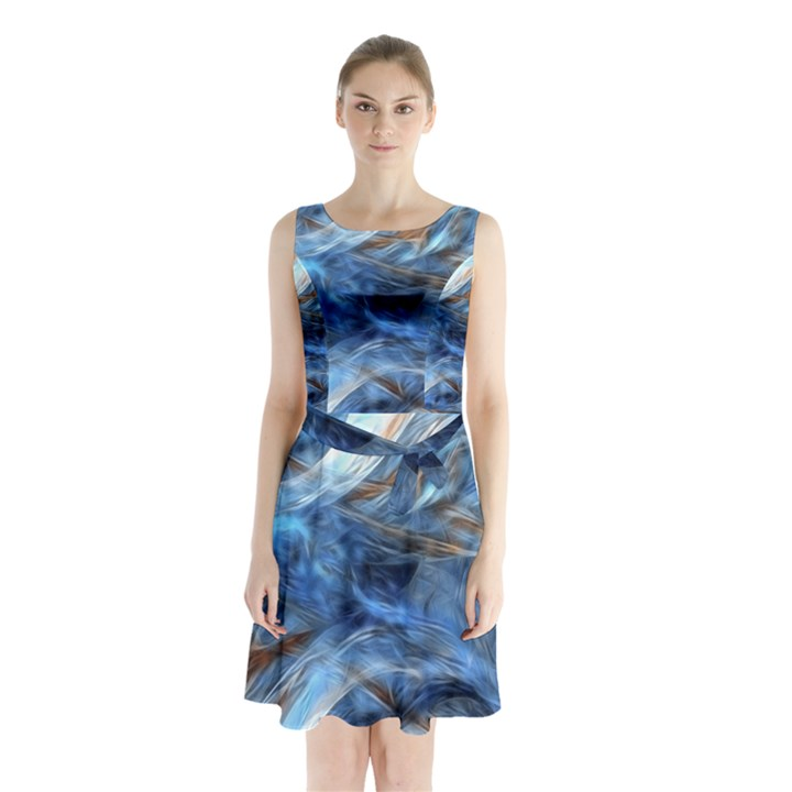 Blue Colorful Abstract Design  Sleeveless Chiffon Waist Tie Dress