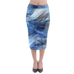 Blue Colorful Abstract Design  Midi Pencil Skirt