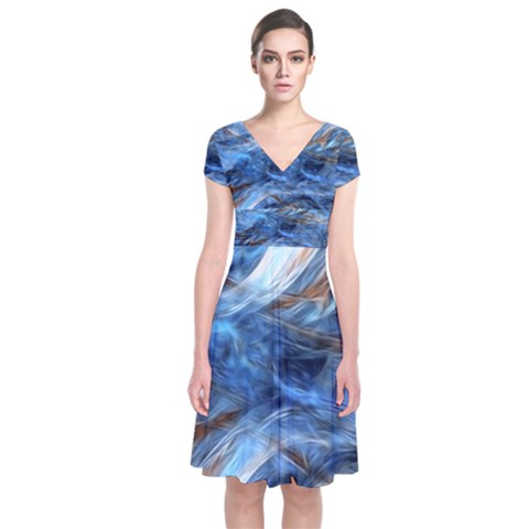 Blue Colorful Abstract Design  Short Sleeve Front Wrap Dress