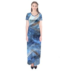 Blue Colorful Abstract Design  Short Sleeve Maxi Dress