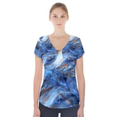 Blue Colorful Abstract Design  Short Sleeve Front Detail Top