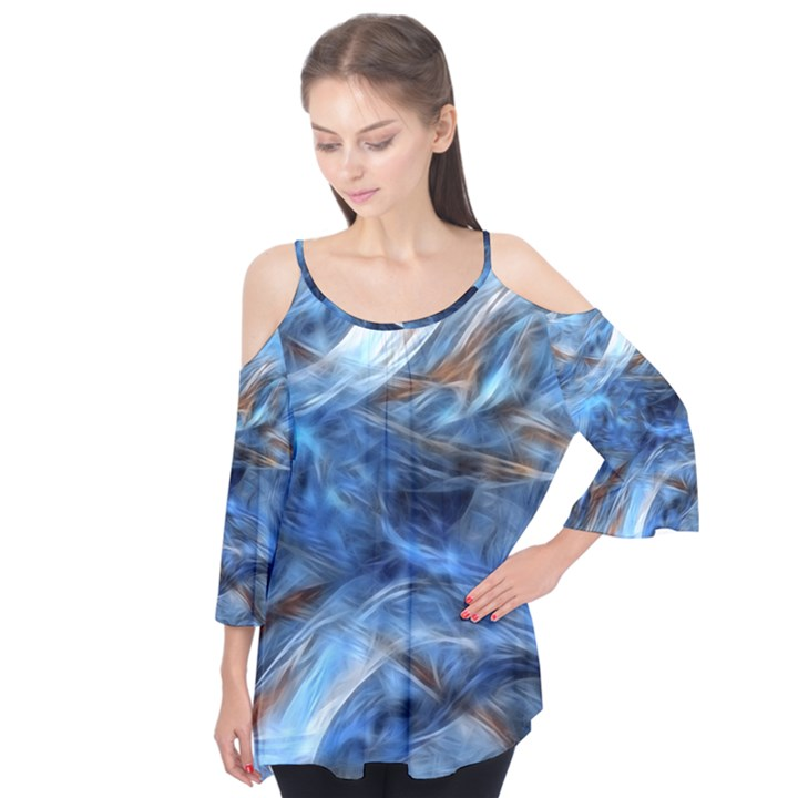 Blue Colorful Abstract Design  Flutter Tees