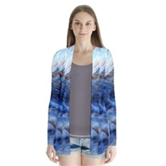 Blue Colorful Abstract Design  Drape Collar Cardigan