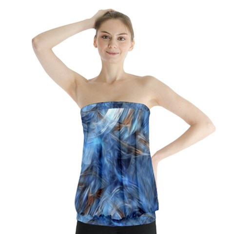Blue Colorful Abstract Design  Strapless Top