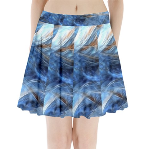 Blue Colorful Abstract Design  Pleated Mini Skirt