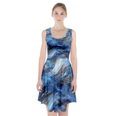 Blue Colorful Abstract Design  Racerback Midi Dress