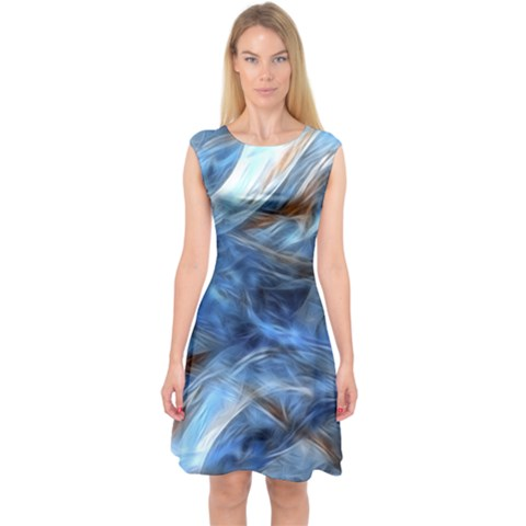 Blue Colorful Abstract Design  Capsleeve Midi Dress