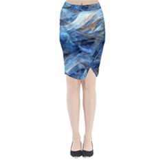 Blue Colorful Abstract Design  Midi Wrap Pencil Skirt