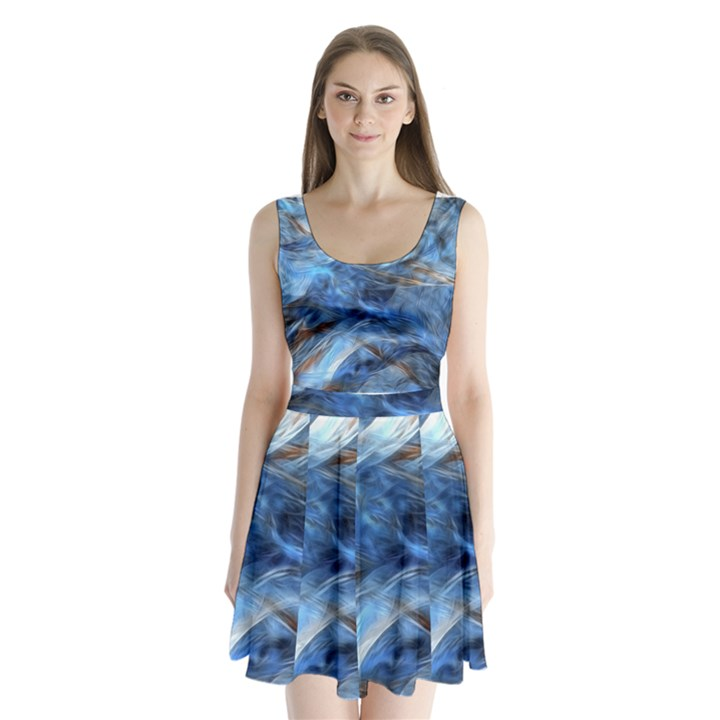 Blue Colorful Abstract Design  Split Back Mini Dress