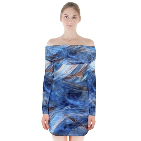 Blue Colorful Abstract Design  Long Sleeve Off Shoulder Dress