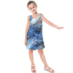 Blue Colorful Abstract Design  Kids  Sleeveless Dress