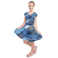 Blue Colorful Abstract Design  Kids  Short Sleeve Dress
