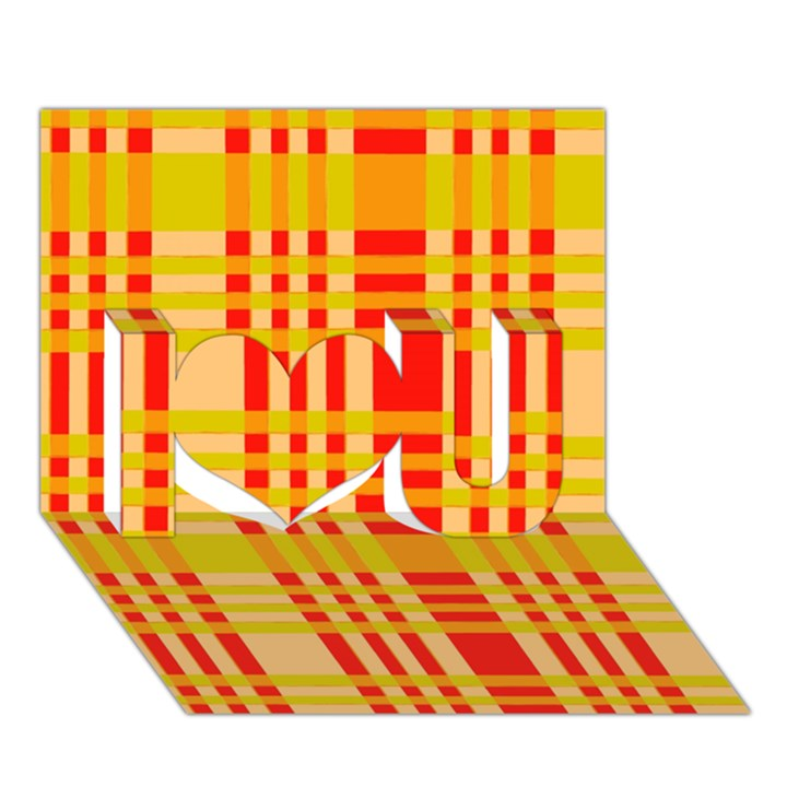 Check Pattern I Love You 3D Greeting Card (7x5)