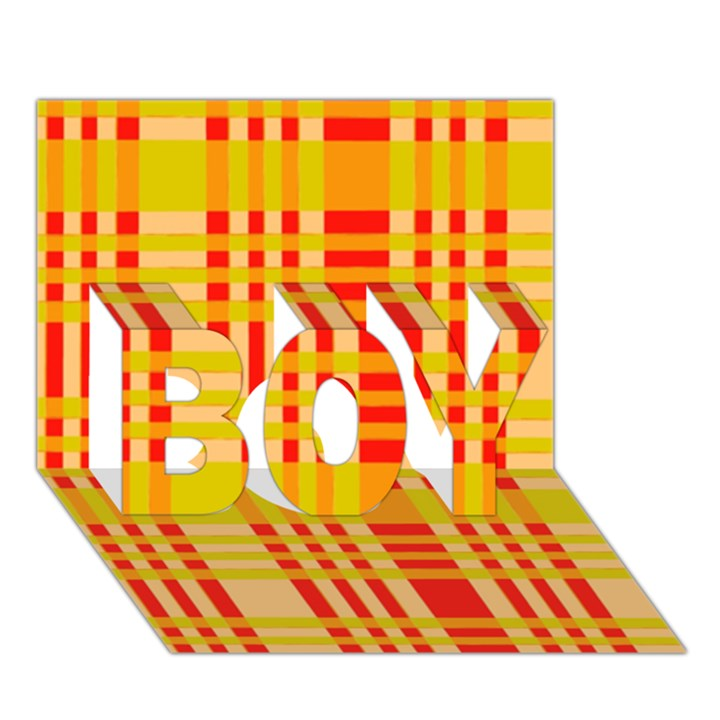 Check Pattern BOY 3D Greeting Card (7x5)