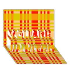 Check Pattern YOU ARE INVITED 3D Greeting Card (7x5)