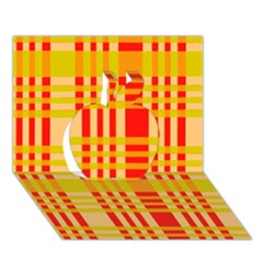 Check Pattern Apple 3D Greeting Card (7x5)